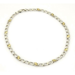 Tiffany & Co. Sterling Silver 18k Yellow Gold Curb Link Chain Necklace