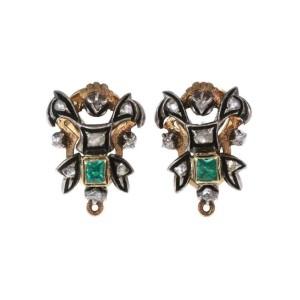 Vintage Rose Cut Diamond Emerald 18k Gold & Silver Post Clip Earrings