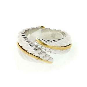 Tiffany & Co 925 Silver 18kGold Feather Leaf Bypass Band Ring Size 4.5