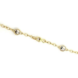 "Diamond Multicolor Gems 14k Two Tone Gold Floral Fancy Link Necklace 37""Long"