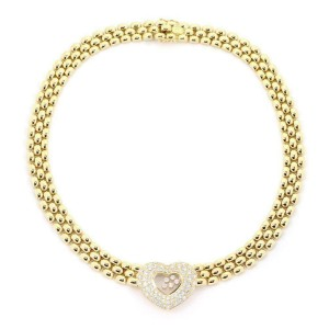 Chopard Happy Diamond 18k Gold 3.25ct Diamond Heart Pendant Collar Necklace