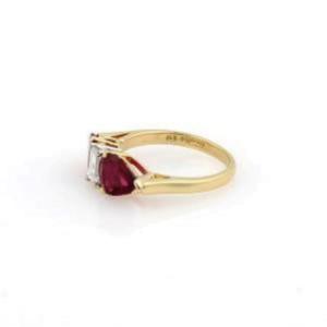 H.T. Stuart 2.92ct Diamond & Ruby 3 Stone Platinum 18k Gold Ring GIA Cert