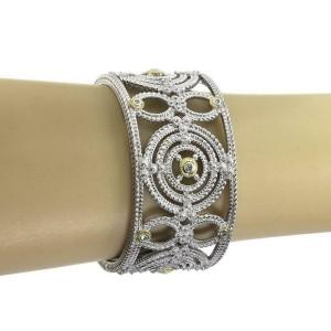 Judith Ripka Diamond 925 Silver 18k Gold Etruscan Wide Fancy Cuff Bracelet