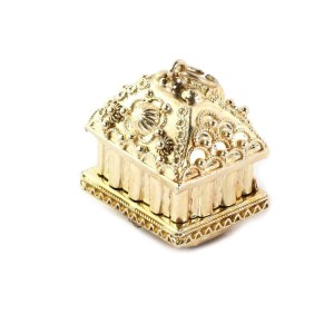 Estate Pink Tourmaline 18k Yellow Gold Dome Building Secret Box Pendant