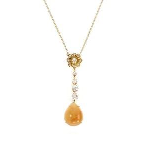 Vintage 11.30ct Mexican Opal Old Mine Cut Diamond 18k Gold Pendant & Chain