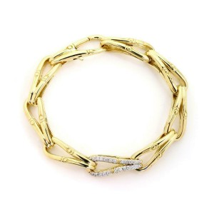 John Hardy Modern Diamond 18k Gold Fish Bone Flex Link Bracelet Ret: $6,200