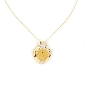 Estate 22k Liberty Coin 14k Gold Diamond Pendant & 18k Gold Chain