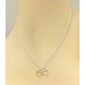 Tiffany & Co Sterling & 18k Yellow Gold Open Double Heart Pendant & Chain