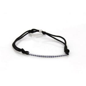 Tiffany & Co. Metro Iolite  18k White Gold Bar Black Cord Bracelet
