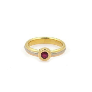 Cartier 18k Tricolor Gold Ruby Solitaire Stack Band Ring Size 49-US 4.5