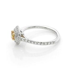 Tiffany & Co. SOLESTE White & Fancy Intence Yellow Diamond Platinum Ring w/Paper