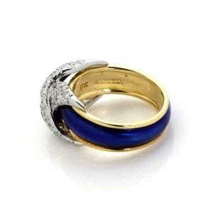 Tiffany & Co. Schlumberger Platinum18k Gold Pave Diamond & Blue Enamel X Ring