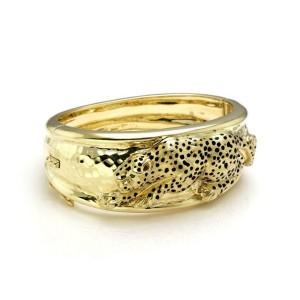 Sal Praschnik Emerald Enamel 14k Yellow Gold Cheetah Phanther Wide Band Bracelet