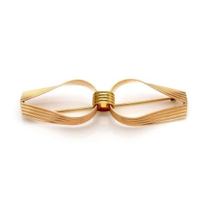 Cartier Vintage 14k Yellow & Rose Gold Fancy Ribbed Style Long Brooch