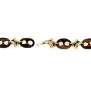 Vintage 14k Yellow Gold Tiger's Eye Mariner Link Fancy Bracelet
