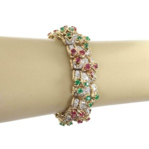 Estate French 21.50ct Diamond Ruby  Emerald 18k Gold 19.5mm Floral Link Bracelet