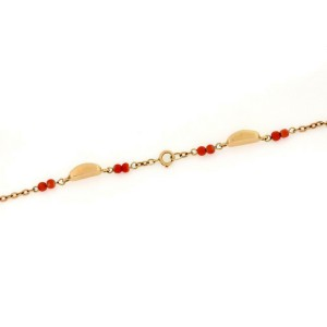 "Vintage 18k Yellow Gold Coral Bead & Bar Link Necklace 32"" long"