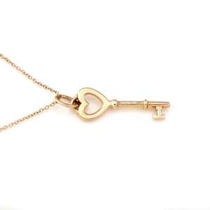 Tiffany & Co. 18k Rose Gold Heart Key Pendant & Chain