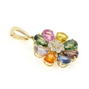 Estate 20.75ct Multicolor Sapphire Diamond 18k Yellow Gold Flower Pendant