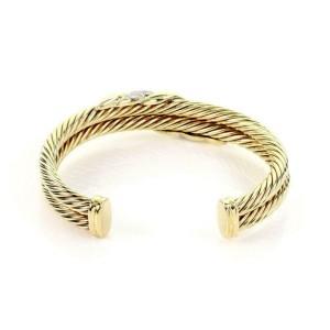 David Yurman Diamond 14k Yellow Gold Double Cable Band Cuff Bracelet