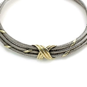 David Yurman Sterling Silver 14k Yellow Gold Triple Cable Choker Necklace