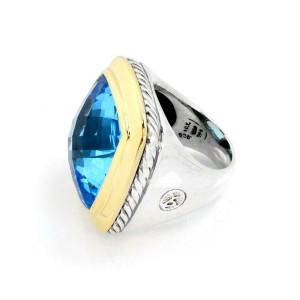 David Yurman Albion Topaz 925 Silver 18k YGold Large Top Ring Size 6.5