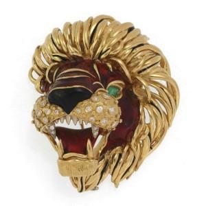Large Exotic Diamond & Emerald 18k Yellow Gold Enamel Large Lion Head Brooch 97g