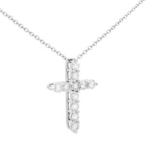Tiffany & Co. Platinum Diamond Cross Necklace 0.42cttw