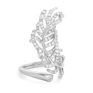 Rachel Koen 18k White Gold Diamond Feather Statement Ring 1.64cttw Size 7