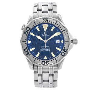 Omega Seamaster Stainless Steel Blue Wave Dial Automatic Mens Watch 2231.80.00