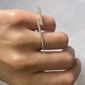 Rachel Koen 14k White Gold Diamond Two Finger Trendy Ring 0.54cttw