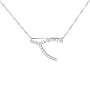 Rachel Koen 14K White Gold Sideways Wishbone Necklace 0.24cttw