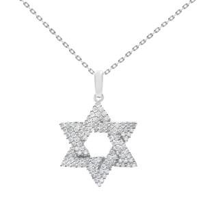 Rachel Koen 14K White Gold Jewish Star of David Diamond Pendant 0.65cttw