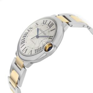 Cartier Ballon Bleu 18K Yellow Gold Steel Silver Guilloche Mens Watch W69009Z3