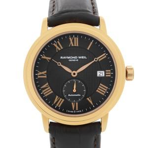 Raymond Weil Maestro Rose Gold PVD Steel Black Dial Mens Watch 2838-PC5-00209