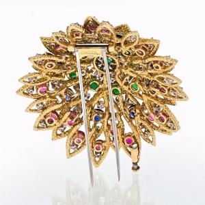 David Webb 18K Yellow Gold Multicolor Gemstone 1970's Vintage Brooch