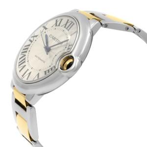 Cartier Ballon Bleu 42mm 18K Yellow Gold Steel Silver Dial Mens Watch W2BB0022