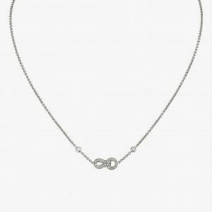 Cartier 18K White Gold Diamond Agrafe Pendant Necklace 0.15cttw