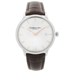 Raymond Weil Toccata Steel Leather Silver Dial Quartz Mens Watch 5488-SL5-65001