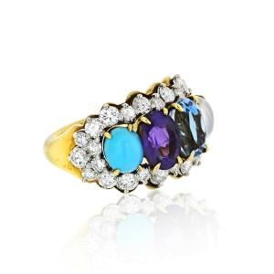 Tiffany & Co. Yellow Gold Amethyst Moonstone Topaz Turquoise Diamond Ring SZ 6.5