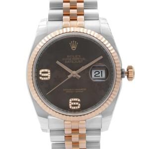 Rolex Datejust 36mm 18K Rose Gold Steel Chocolate Dial Ladies Watch 116231CHFDAJ