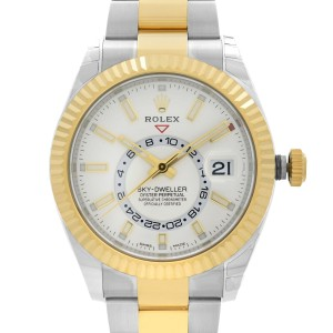 Rolex Sky-Dweller 18K Gold Steel White Dial Automatic Mens Watch 326933WSO