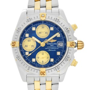Breitling Cockpit Chronograph 18k Rose Gold Steel Blue Dial Mens Watch B13358