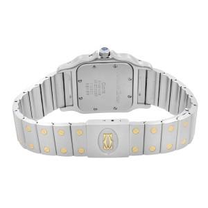 Cartier Santos Galbee 29mm Moonphase 18k Gold Steel Cream Dial Men Watch 119901