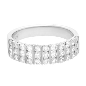 18K White Gold Diamond Channel Set Milgrain Wedding Band Ring 1.05cttw Size 7