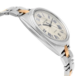 Cartier Cle 18k Rose Gold Steel Silver Dial Automatic Mens Watch W2CL0002