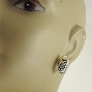 David Yurman Sterling Silver 14K Gold Dome Waverly Earrings