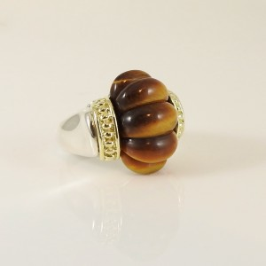 Lagos Caviar Rouche Sterling Silver Tiger's Eye Ring