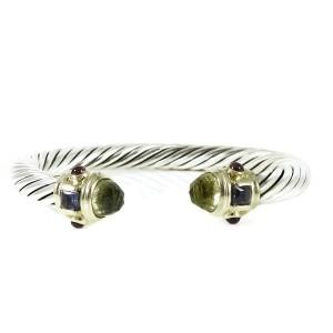 David Yurman Renaissance Sterling Silver Lemon Citrine, Iolite, Rhodolite Garnet Bracelet