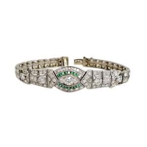 Platinum Art Deco Bracelet With Diamonds And Emeralds 11.25